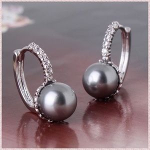 Sterling Silver and Pearl Drop Crystal Earrings